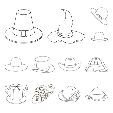 Vector design of hat and cap sign. Collection of hat and model stock vector illustration.
