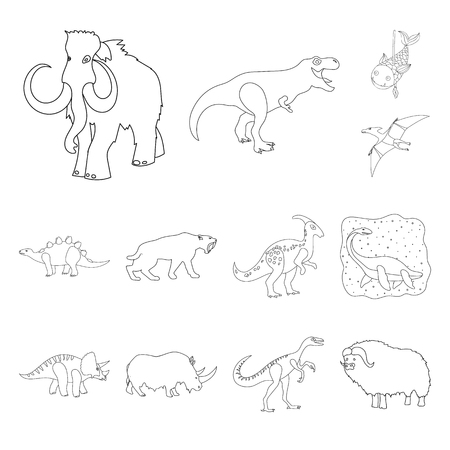 Isolated object of animal and character sign. Collection of animal and ancient  vector icon for stock.