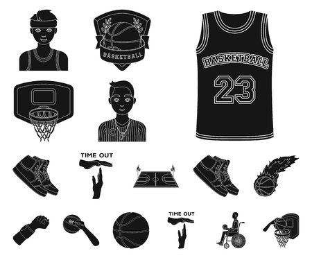 Basketball and attributes black icons in set collection for design.Basketball player and equipment vector symbol stock web illustration. Çizim