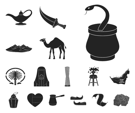 Country United Arab Emirates black icons in set collection for design. Tourism and attraction vector symbol stock web illustration. Vettoriali