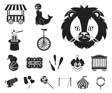 Circus and attributes black icons in set collection for design. Circus Art vector symbol stock web illustration. Vectores