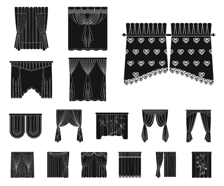 Different kinds of curtains black icons in set collection for design. Curtains and lambrequins vector symbol stock web illustration. Çizim