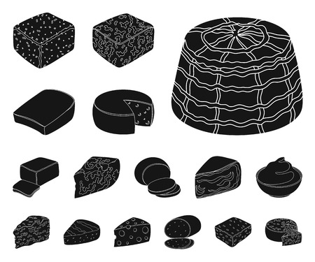 Different kind of cheese black icons in set collection for design.Milk product cheese vector symbol stock web illustration. Vecteurs