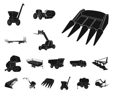 Agricultural machinery black icons in set collection for design. Equipment and device vector symbol stock web illustration.