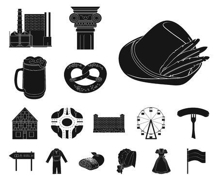 Country Germany black icons in set collection for design. Germany and landmark vector symbol stock web illustration. Ilustração