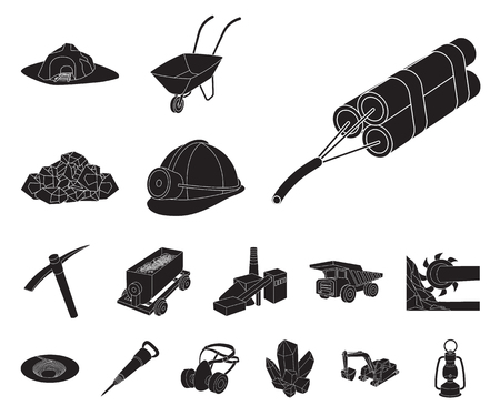 Mining industry black icons in set collection for design. Equipment and tools vector symbol stock web illustration.
