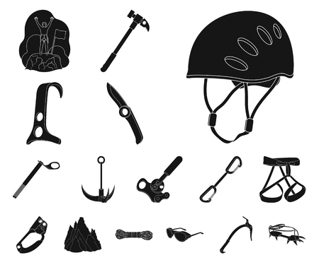 Mountaineering and climbing black icons in set collection for design. Equipment and accessories vector symbol stock web illustration.