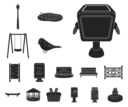 Park, equipment black icons in set collection for design. Walking and rest vector symbol stock web illustration.  イラスト・ベクター素材