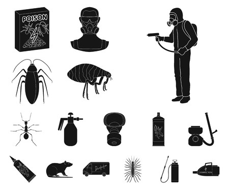 Pest, poison, personnel and equipment black icons in set collection for design. Pest control service vector symbol stock web illustration.