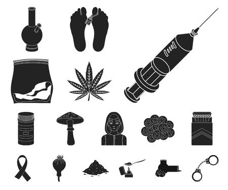 Drug addiction and attributes black icons in set collection for design. Addict and Drug vector symbol stock web illustration. Vektorgrafik