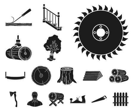 Icônes de scierie et de bois noir dans la collection de jeu pour la conception. Matériel et outils vector illustration stock web symbole.
