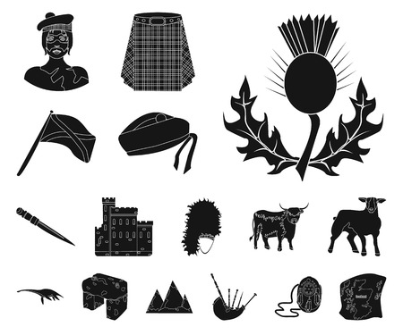 Country Scotland black icons in set collection for design. Sightseeing, culture and tradition vector symbol stock web illustration. Illusztráció