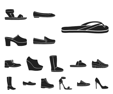 A variety of shoes black icons in set collection for design. Boot, sneakers vector symbol stock web illustration.