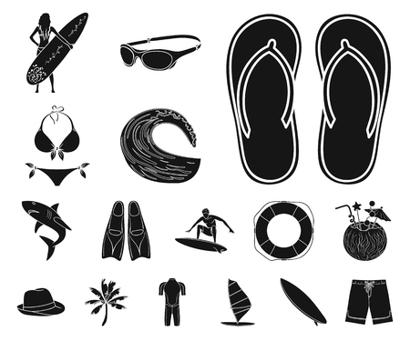 Surfing and extreme black icons in set collection for design. Surfer and accessories vector symbol stock web illustration. Stock Illustratie