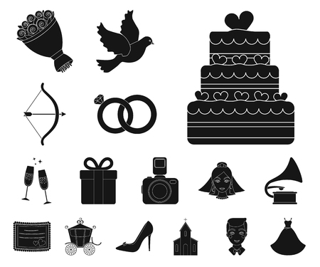 Wedding and Attributes black icons in set collection for design.Newlyweds and Accessories vector symbol stock web illustration.