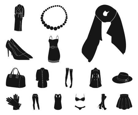 Womens Clothing black icons in set collection for design.Clothing Varieties and Accessories vector symbol stock web illustration.