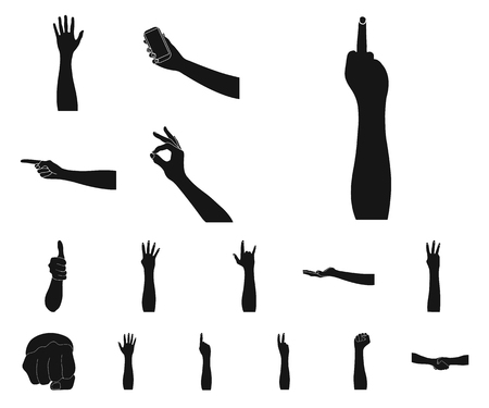 Gestures and their meaning black icons in set collection for design.Emotional part of communication vector symbol stock web illustration.