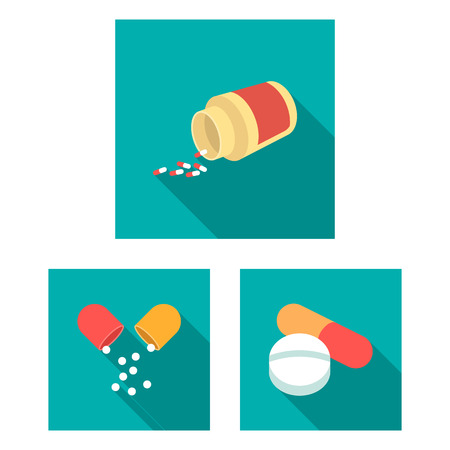 Vector design of pill and medicine icon. Set of pill and vitamin stock vector illustration. Ilustracje wektorowe
