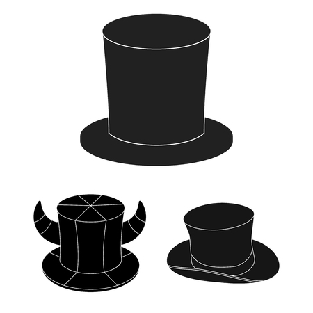 Vector illustration of hat and derby logo. Collection of hat and bonnet stock symbol for web. Illustration