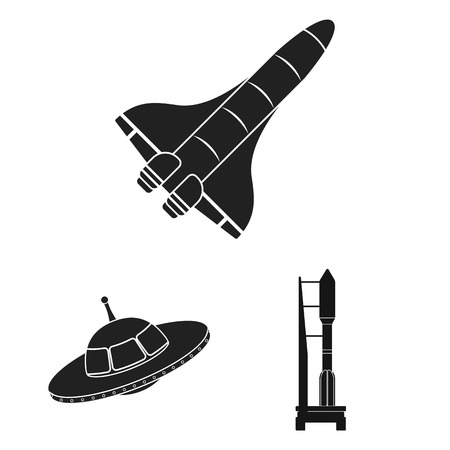 Vector illustration of spaceship and ship sign. Set of spaceship and station vector icon for stock.