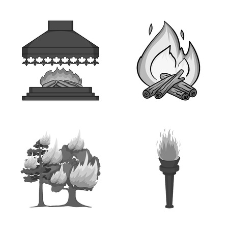 Isolated object of fire and flame icon. Set of fire and fireball stock vector illustration.