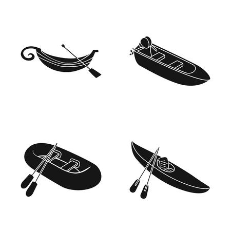 Vector design of sail and sea symbol. Set of sail and regatta stock symbol for web.