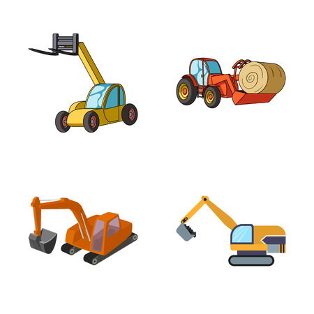 Vector design of front and excavator icon. Collection of front and bucket vector icon for stock. Vettoriali