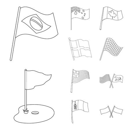 Vector illustration of world and flag sign. Set of world and ribbon stock vector illustration. Illustration
