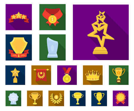 Awards and trophies flat icons in set collection for design.Reward and achievement vector symbol stock web illustration.