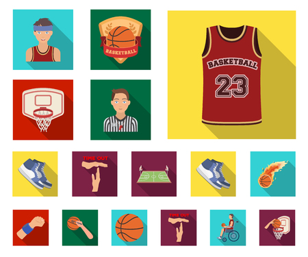Basketball and attributes flat icons in set collection for design.Basketball player and equipment vector symbol stock web illustration.
