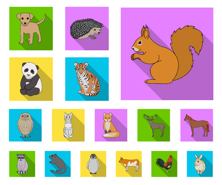 Realistic animals flat icons in set collection for design. Wild and domestic animals vector symbol stock web illustration.