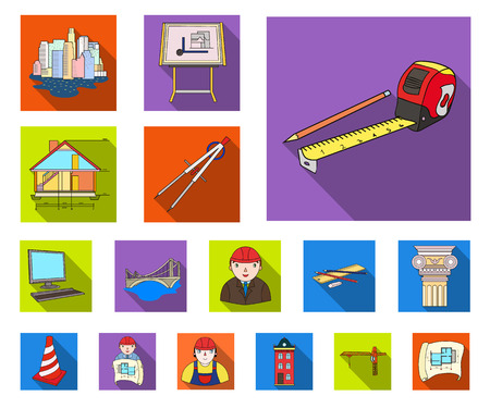 Architecture and construction flat icons in set collection for design. Architect and equipment vector symbol stock web illustration. Vetores