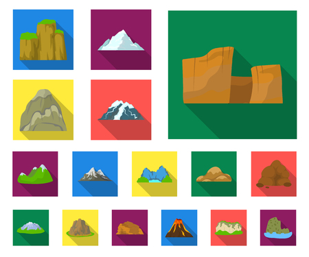 Different mountains flat icons in set collection for design.Mountains and landscape vector symbol stock web illustration.