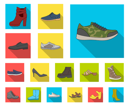 Different shoes flat icons in set collection for design. Mens and womens shoes vector symbol stock web illustration.