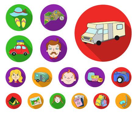Family holiday flat icons in set collection for design. Recreation and equipment. vector symbol stock web illustration. Vektoros illusztráció
