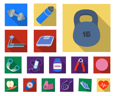 Gym and training flat icons in set collection for design. Gym and equipment vector symbol stock illustration. Ilustração