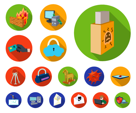 Hacker and hacking flat icons in set collection for design. Hacker and equipment vector symbol stock web illustration.