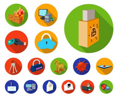 Hacker und hacken flache Symbole in der Set-Sammlung für Design. Hacker und Ausrüstung Vektor Symbol Lager Web-Illustration.