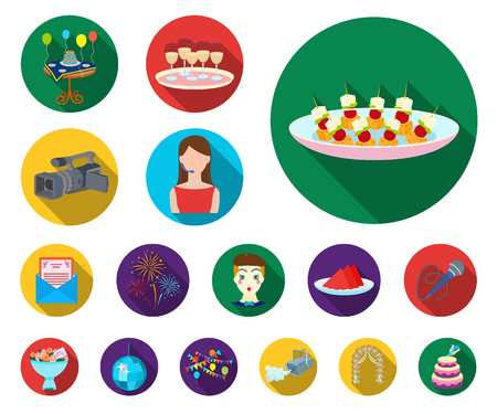Event Organisation flat icons in set collection for design.Celebration and Attributes vector symbol stock web illustration. Ilustracja