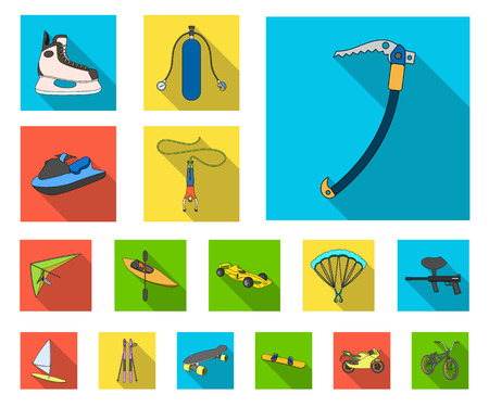 Extreme sport flat icons in set collection for design.Different kinds of sports vector symbol stock web illustration. Иллюстрация