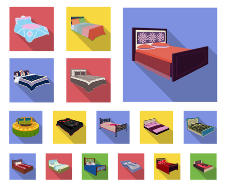 Different beds flat icons in set collection for design. Furniture for sleeping vector isometric symbol stock web illustration.