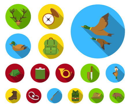 Hunting and trophy flat icons in set collection for design. Hunting and equipment vector symbol stock web illustration.