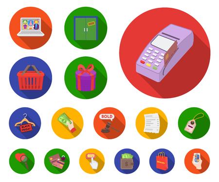 E-commerce, achat et vente d'icônes plats dans la collection de jeu pour la conception. Commerce et finance vecteur symbole stock illustration web.