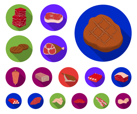 Different meat flat icons in set collection for design. Meat product vector symbol stock web illustration. Stock fotó - 113757691