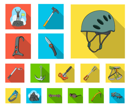 Mountaineering and climbing flat icons in set collection for design. Equipment and accessories vector symbol stock web illustration. Vektoros illusztráció