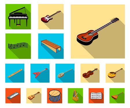 Musical instrument flat icons in set collection for design. String and Wind instrument isometric vector symbol stock web illustration.