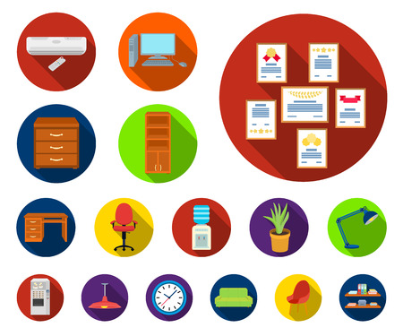Interior of the workplace flat icons in set collection for design. Office furniture vector symbol stock web illustration.