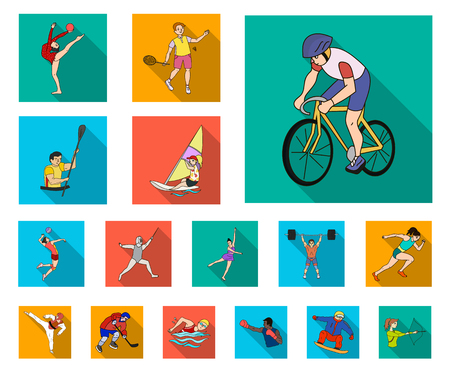 Different kinds of sports flat icons in set collection for design. Athlete, competitions vector symbol stock web illustration. Vettoriali