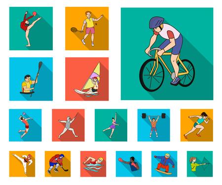 Verschiedene Arten von Sport-Flat-Icons in der Set-Kollektion für Design. Athlet, Wettbewerbe Vektorsymbol stock web Illustration. Vektorgrafik