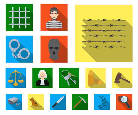 Prison and the criminal flat icons in set collection for design.Prison and Attributes vector symbol stock illustration. Çizim
